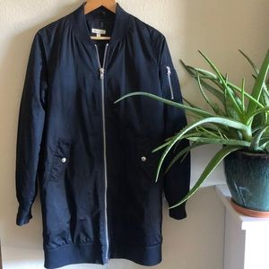 Unique Urban Outfitters Long Bomber Jacket